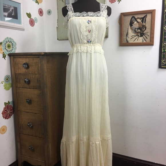 e067b729173 Vintage Prairie Dress Boho Hippie Sundress Maxi. M 5a7136a546aa7c596e190faa